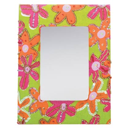 Floral Fabric Framed Mirror Snedco Wholesale Gift Ideas